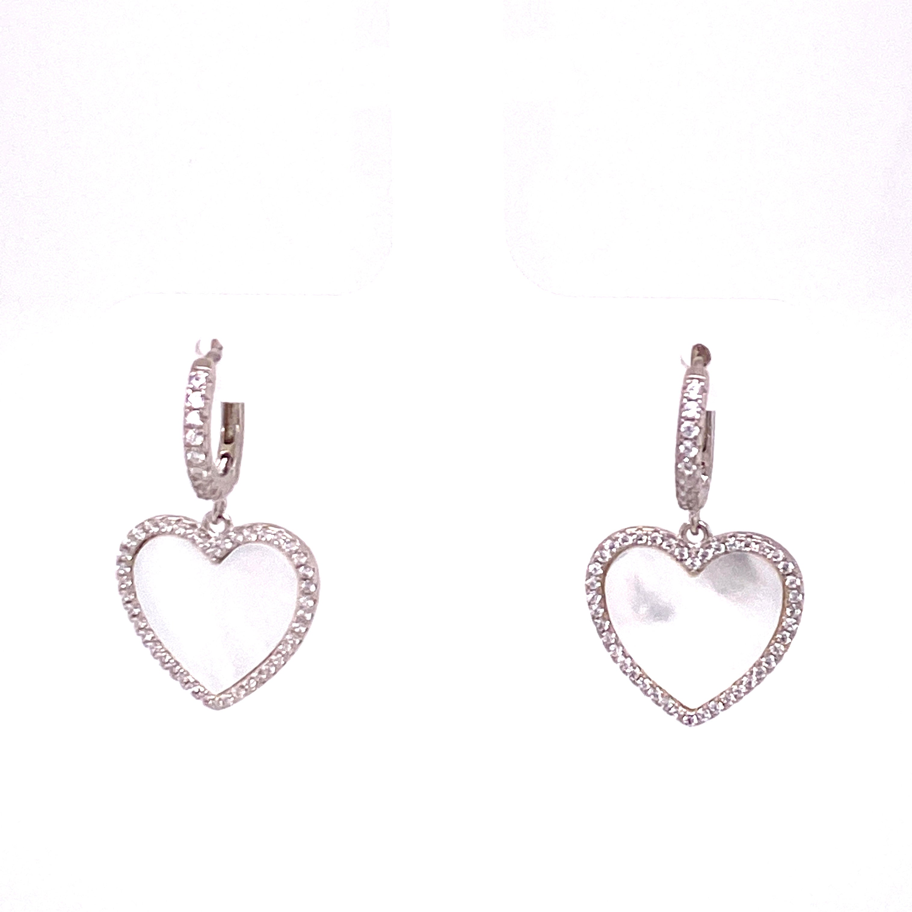 Mother Of Pearl Hanging Heart Earrings