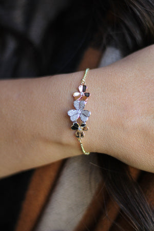 Tricolor Floral Adjustable Bracelet