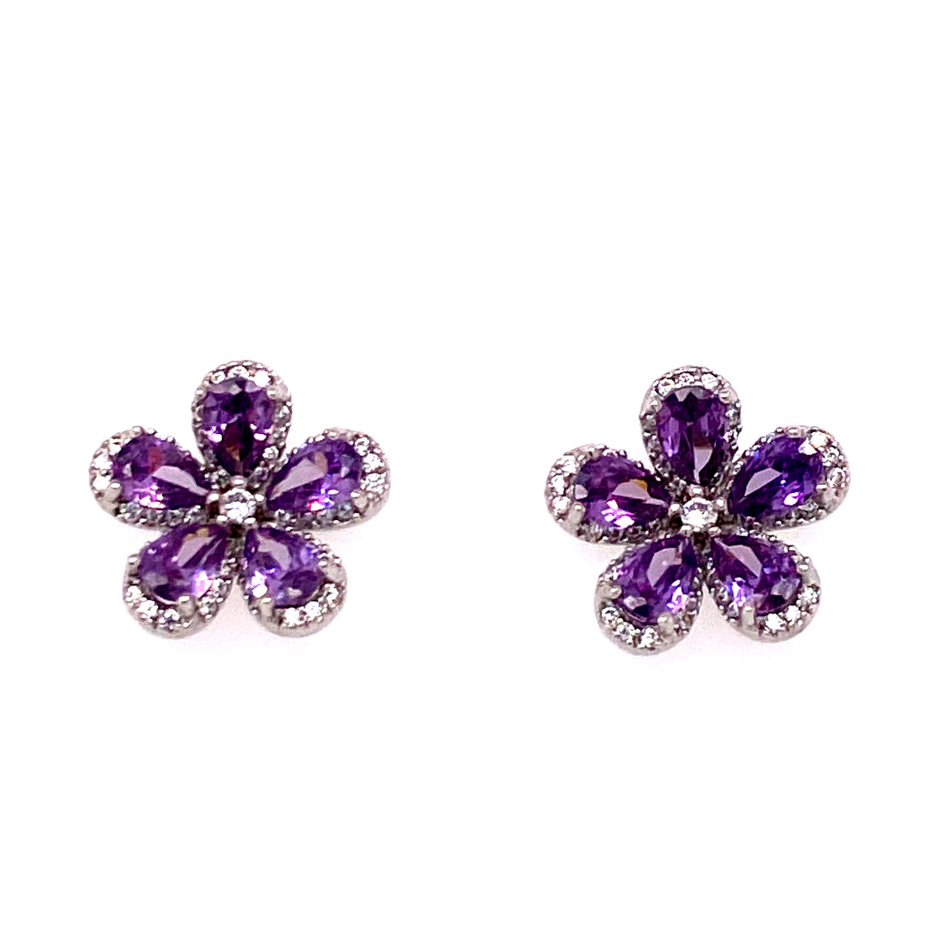 Floral Glass Stone Studs
