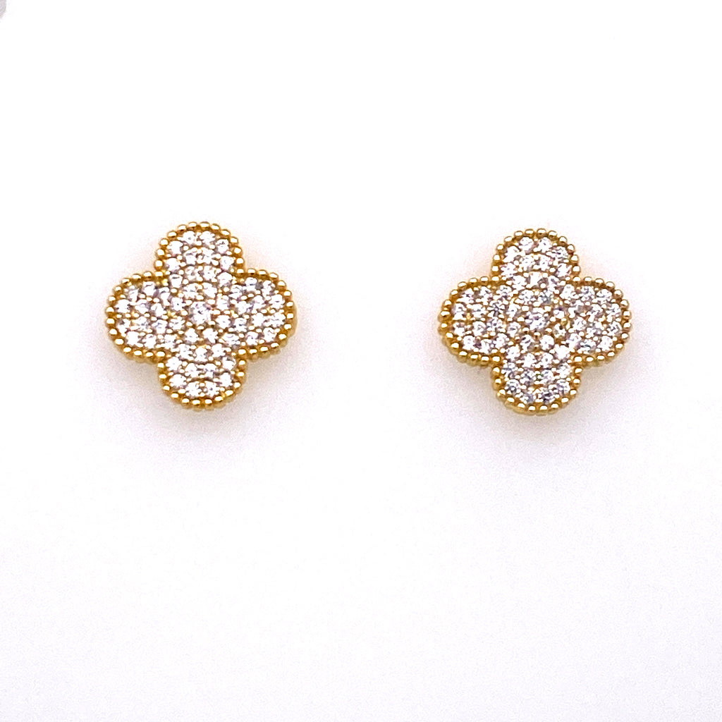 Large Clover Pave Studs