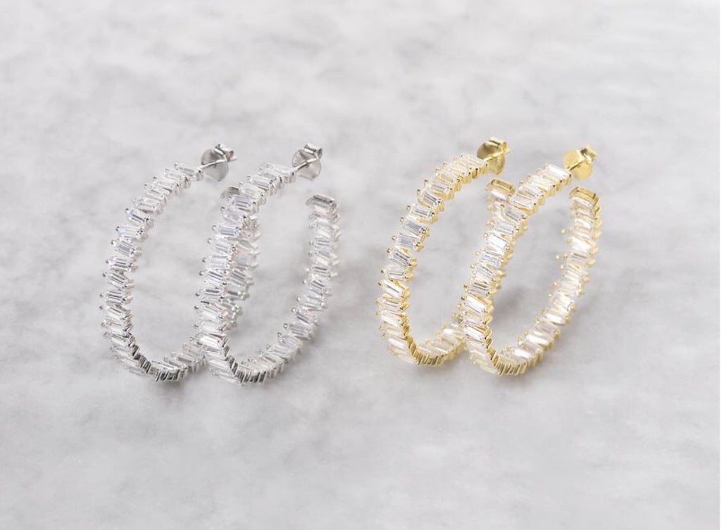 Gold Plated Baguette Hoops
