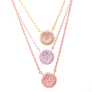 Triple Layer Stackable Pave Solitare Necklace