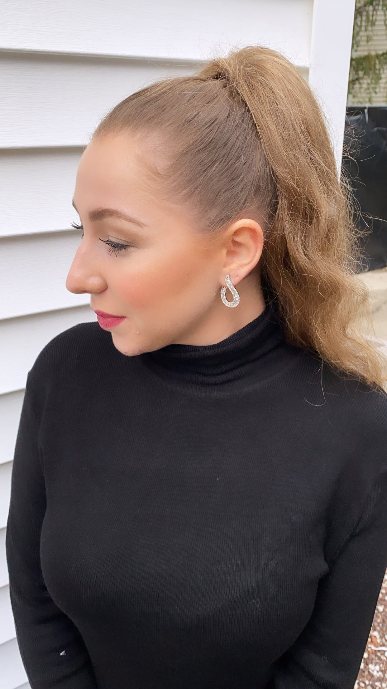 J Shaped Baguette Earrings