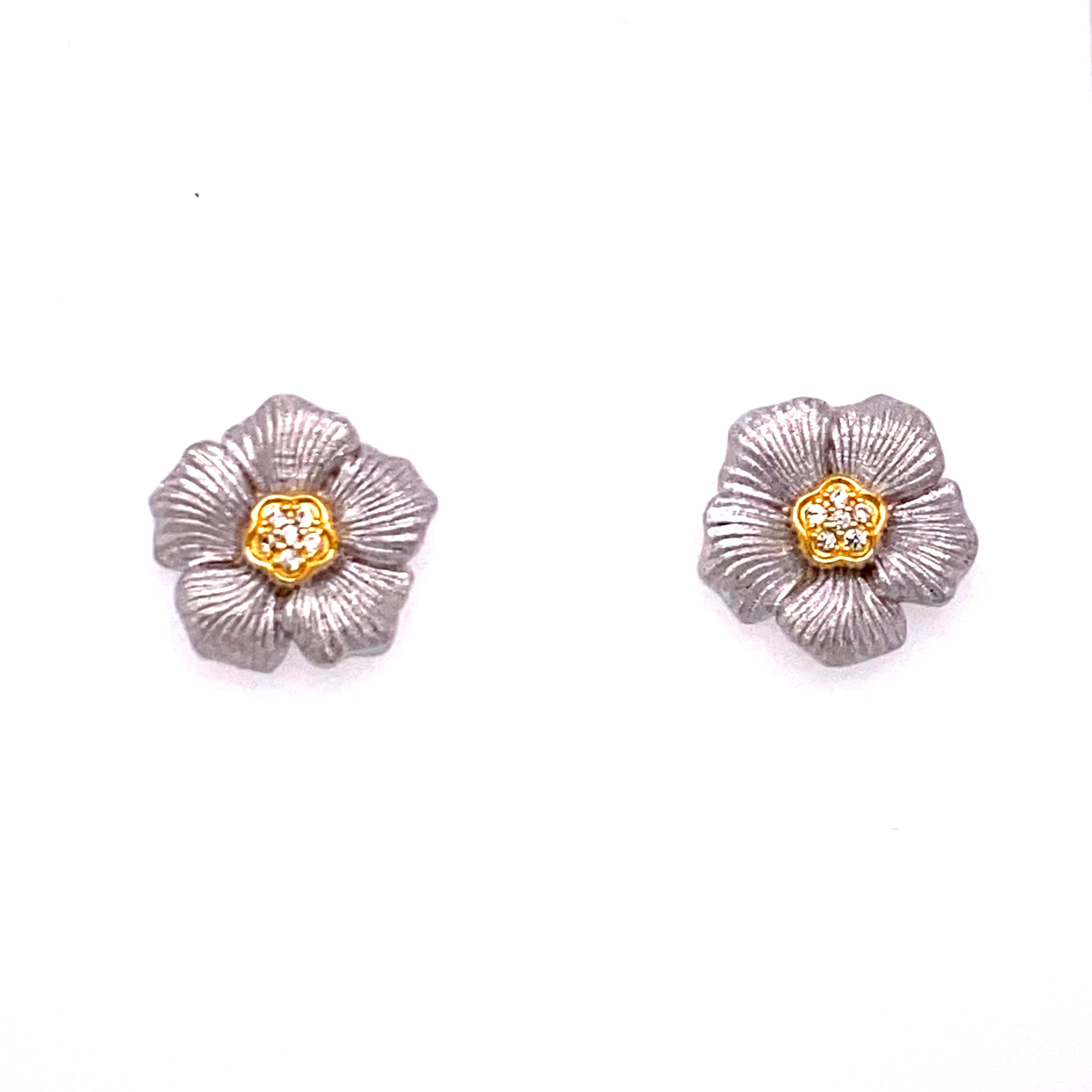 Exquisite Two Tone Flower Stud