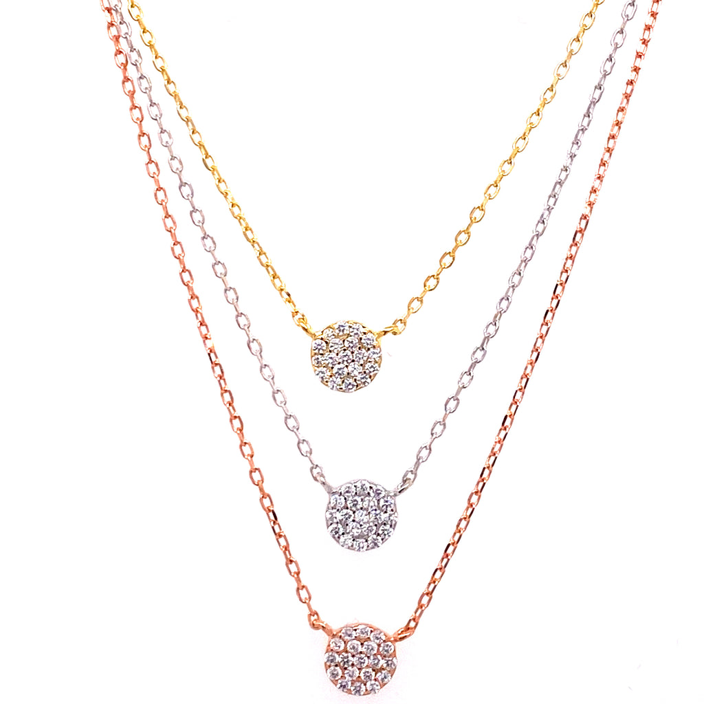 Triple Layer Stackable Pave Solitaire Necklace