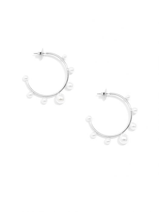 Small Detailed Outer Pearl Hoops