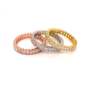 Sterling Silver Tricolor Baguette Stackable Rings