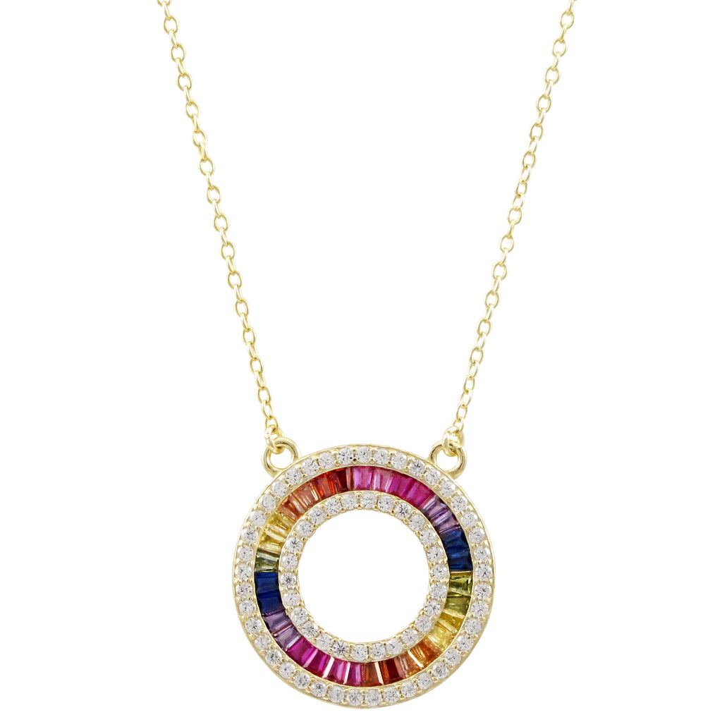 Perfect Multicolor Baguette Circle Necklace