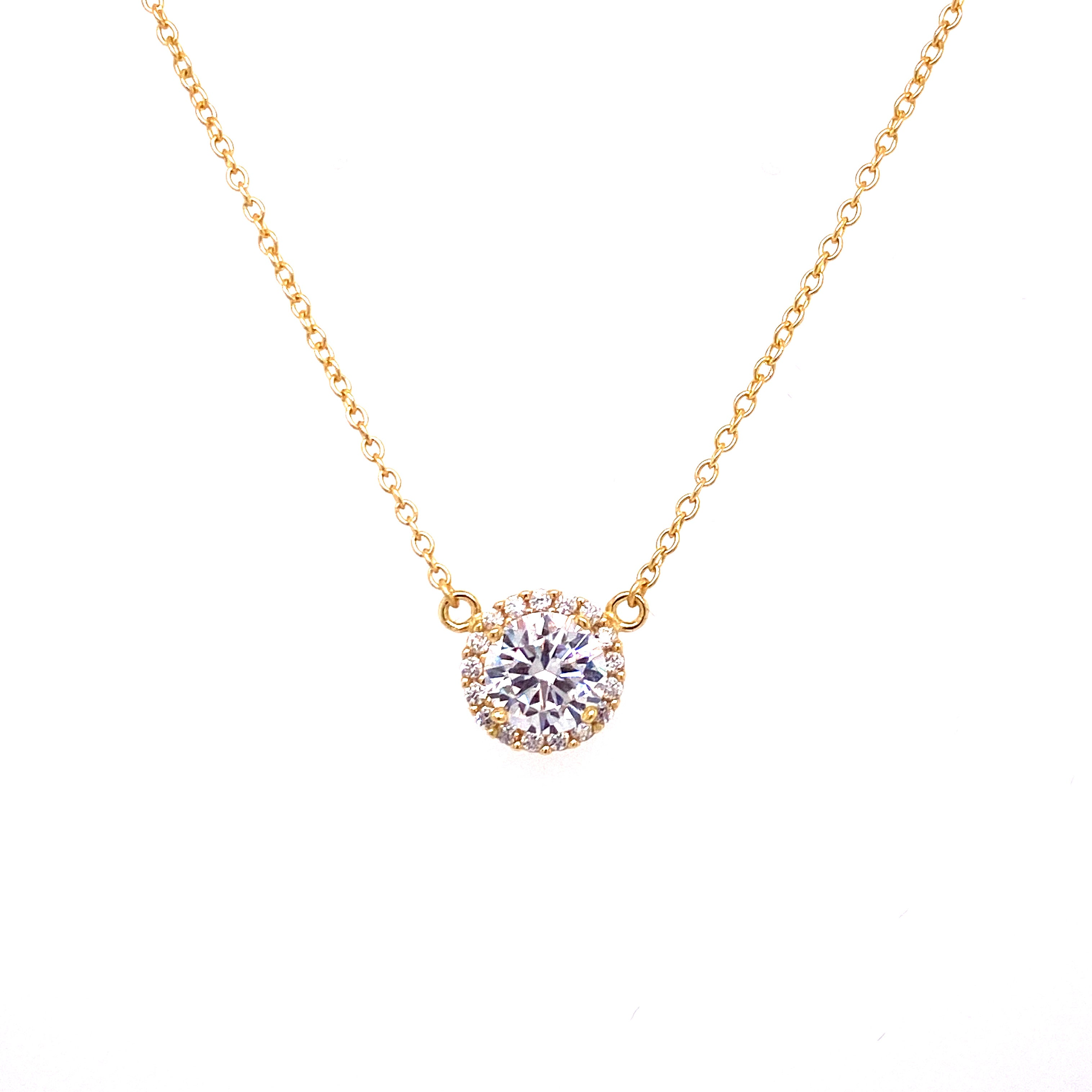 Solitaire Single Row Pave Necklace