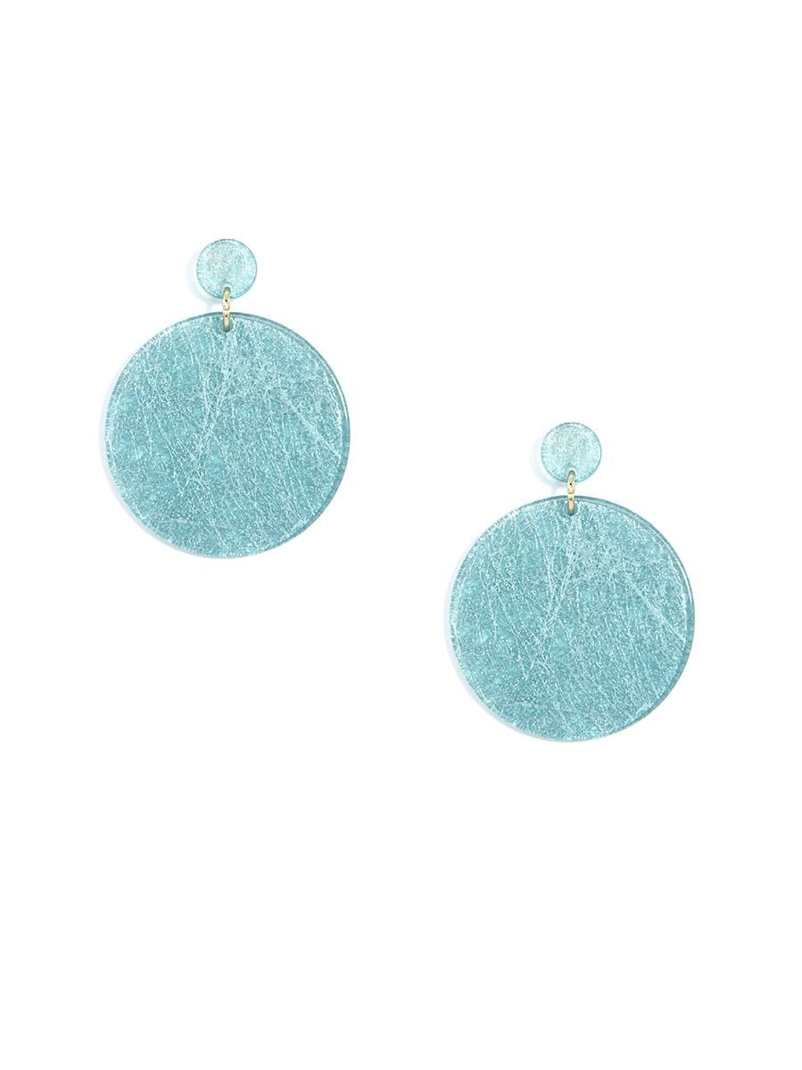 Cirlce Metallic Static Drop Earrings