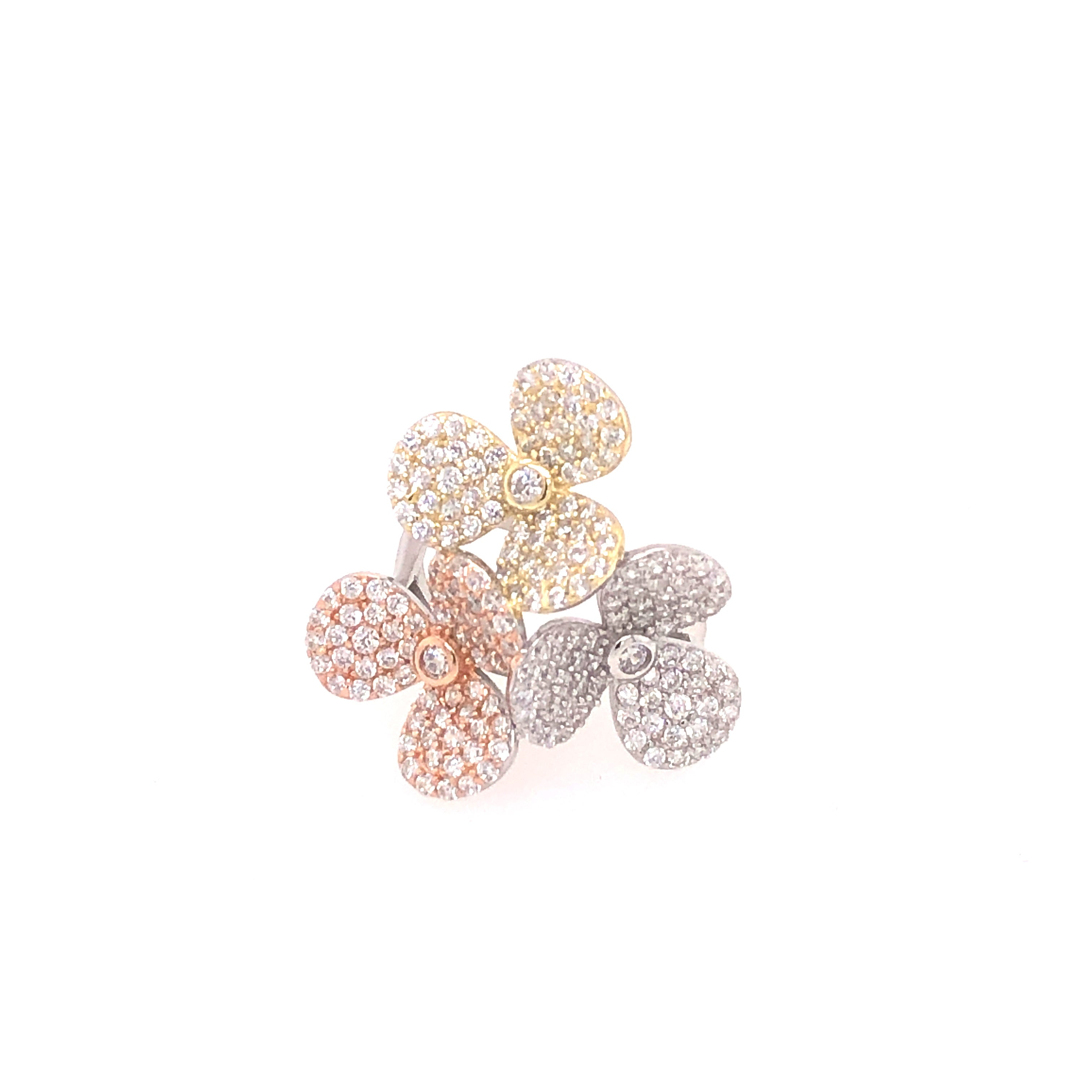Pave Tricolor Floral Ring