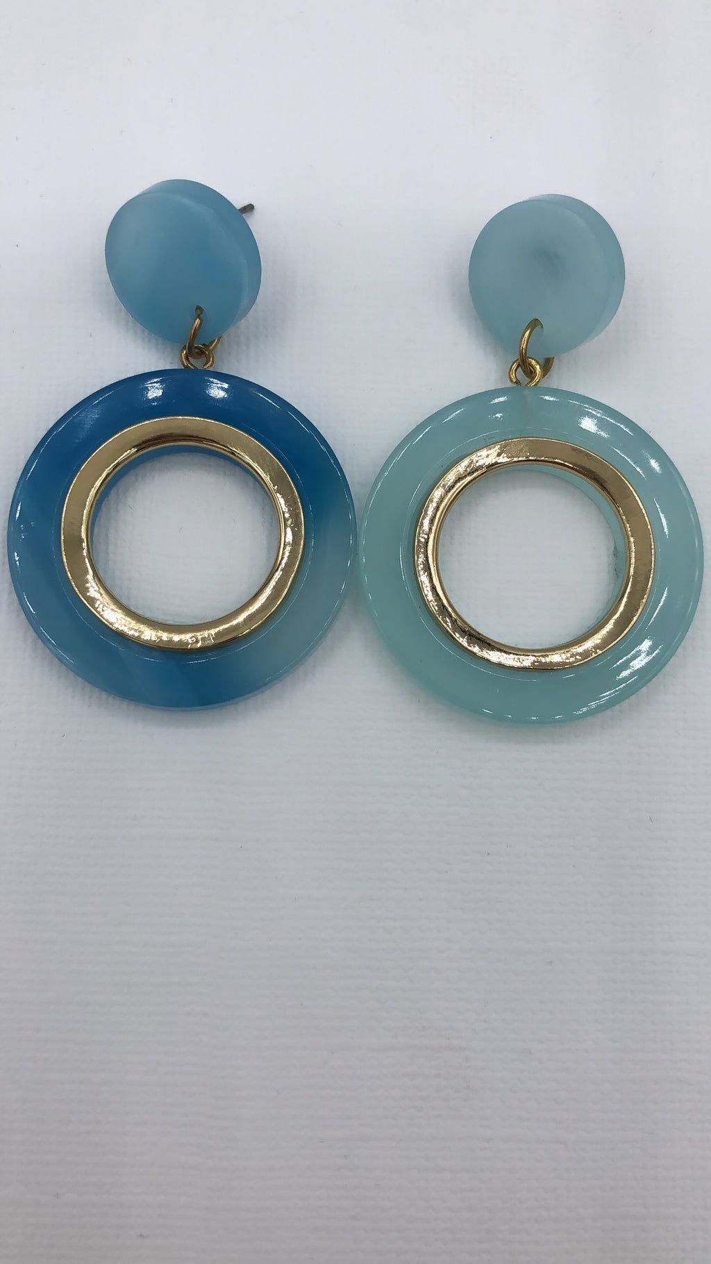 Blue Chloe Tortoise Hoop Drop Earrings