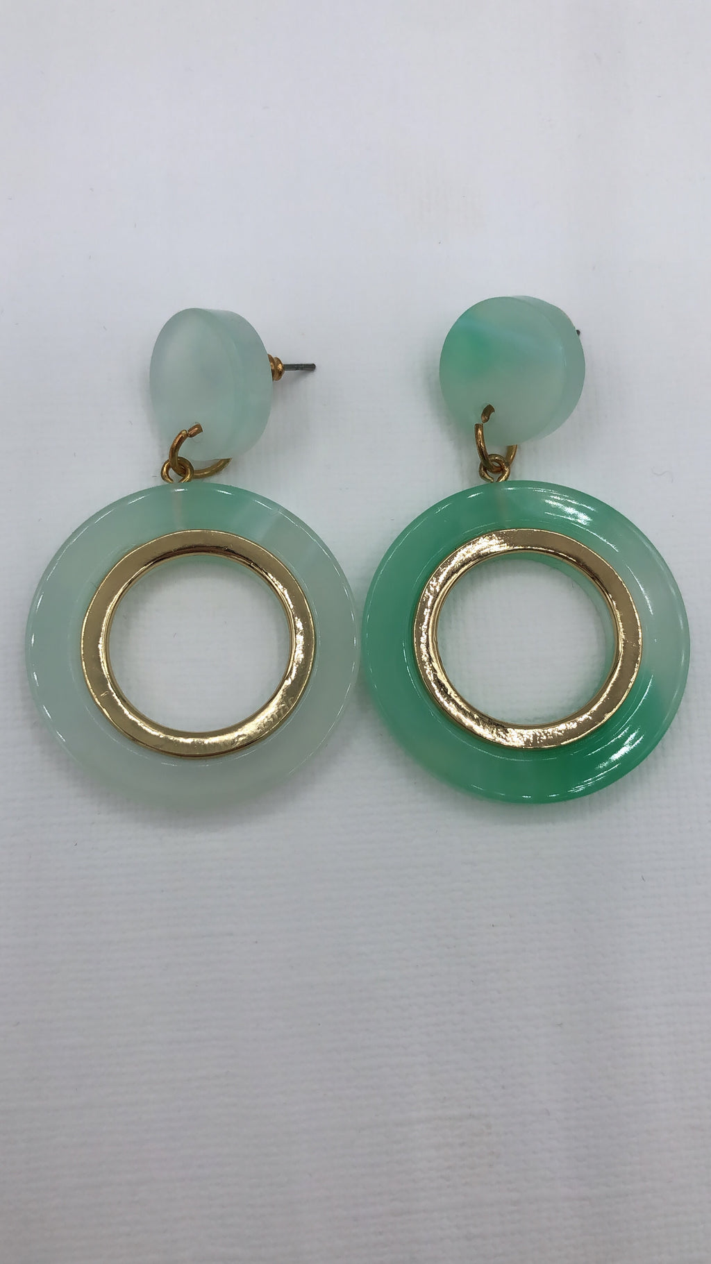 Green Chloe Tortoise Hoop Drop Earrings