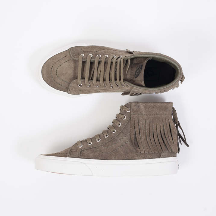 Vans Vintage Suede Sk8-Hi Moc Ivy Green Trainers with cute fringed detail available from Roo's Beach UK