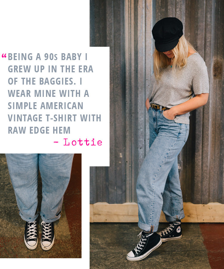 Sales Assistant Lottie styling her Levi's Real World Baggy Blue Jeans