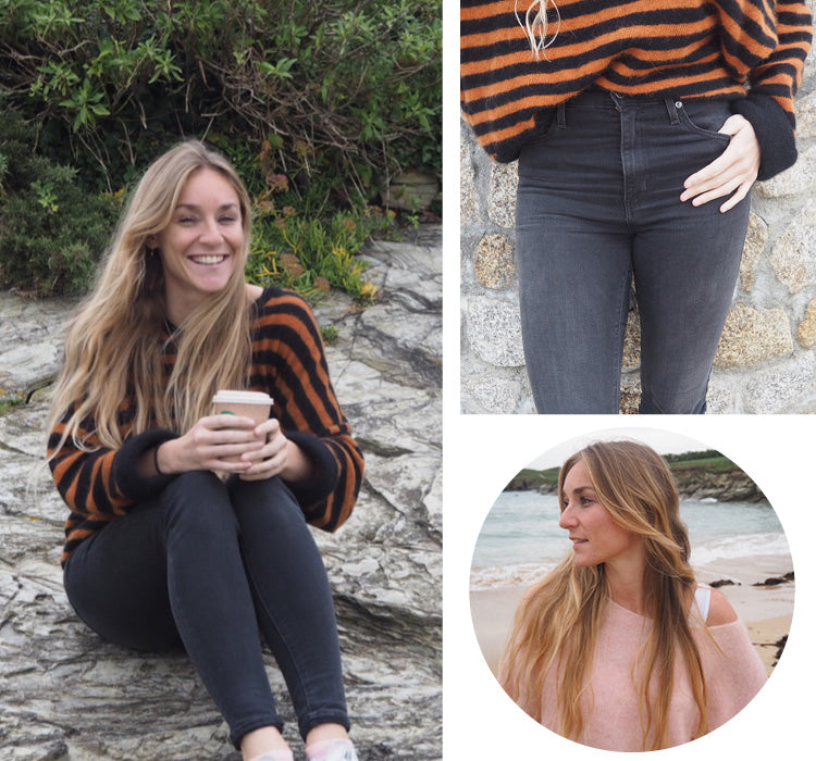 Becky wearing her favourite American Vintage knitwear pieces