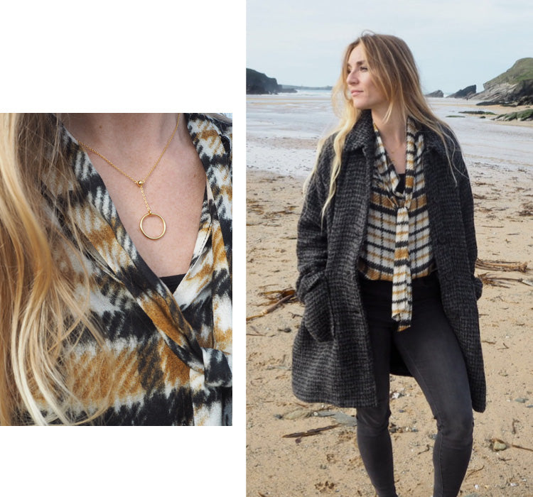 Becky wearing the Ottod'Ame Checked Georgette Shirt