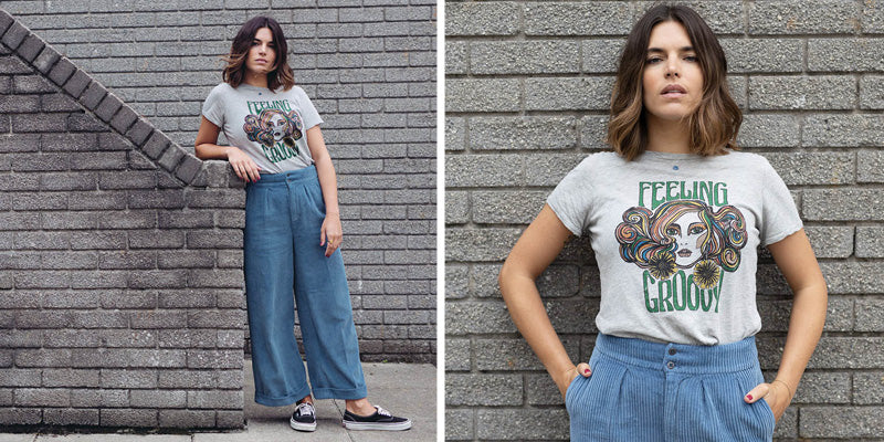 Lifestyle shot of model wearing the Hartford Grey Feeling Groovy Telene Tee