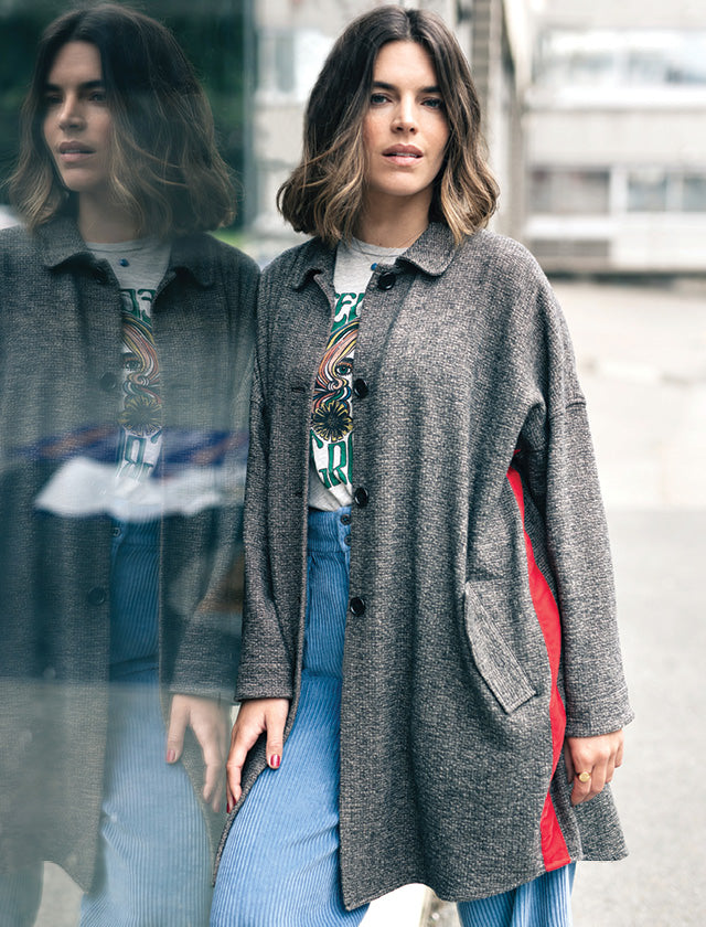 Lifestyle shot of model wearing the Bellerose Pecq Herringbone Coat