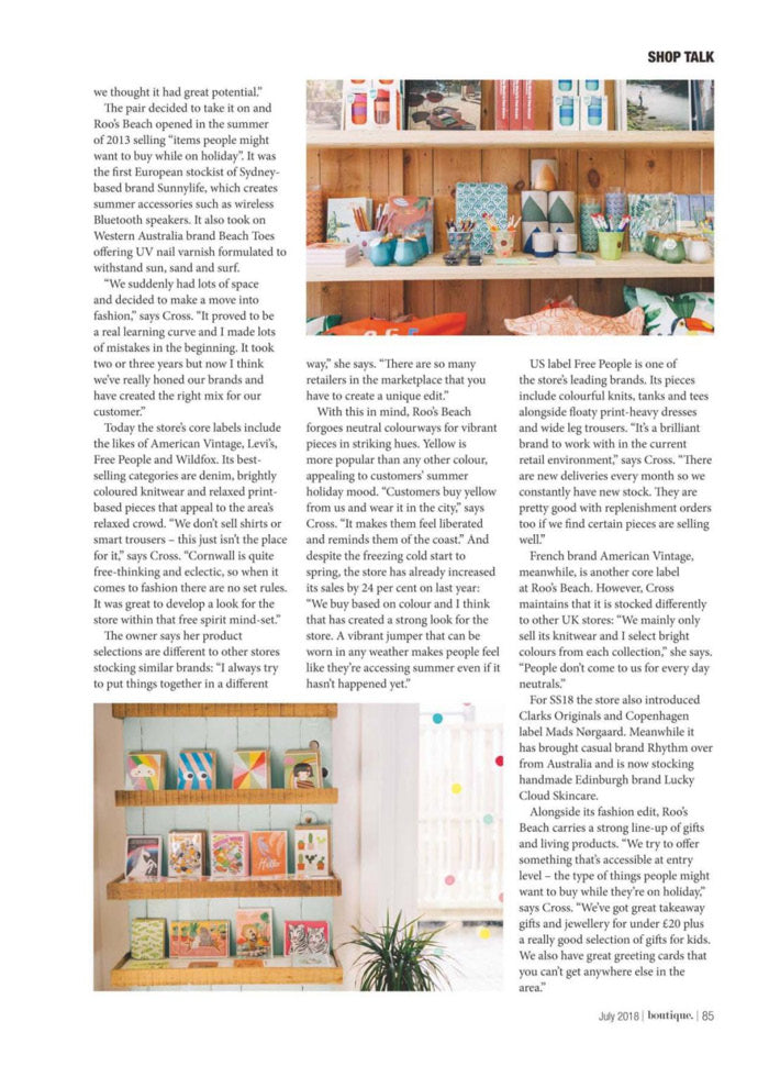 Roo's Beach featured in Boutique Magazine July 2018