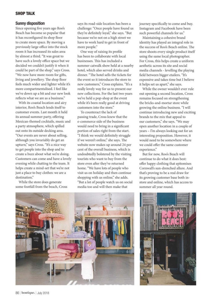 Roo's Beach featured in Boutique Magazine, July 2018