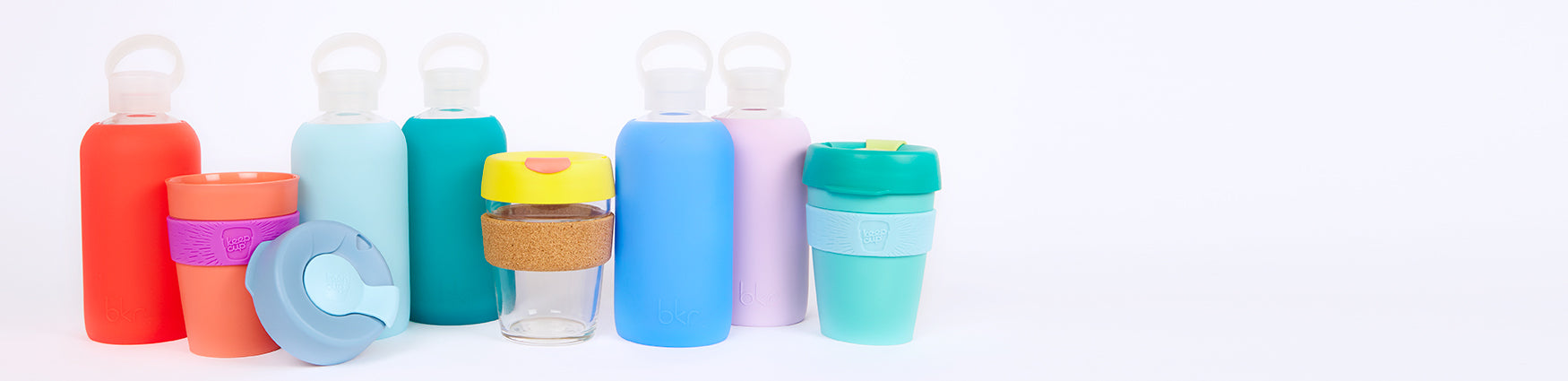 KeepCups, Bkr bottles, glasses and mugs - Available from Roo's Beach UK