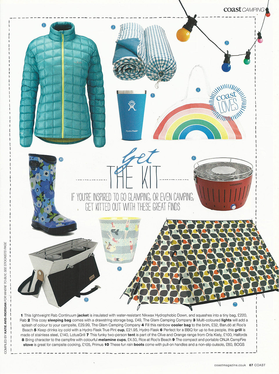 Coast Magazine Get The Kit Glamping Feature – July 2017