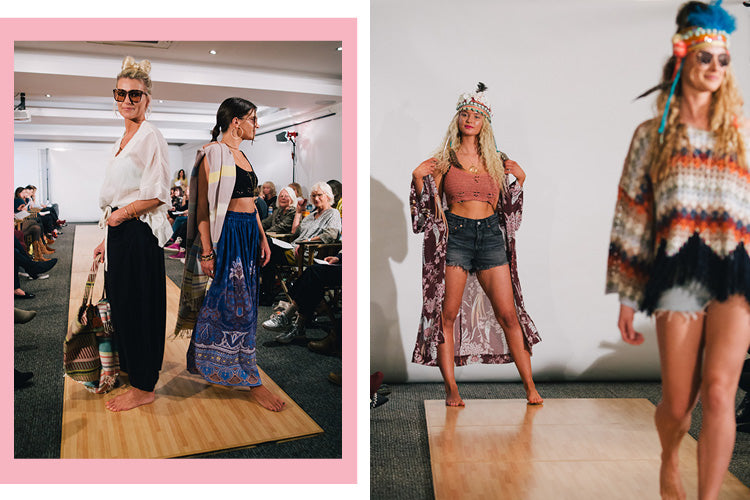 Models walk the runway at the Roo's Beach Fashion Feast 2018