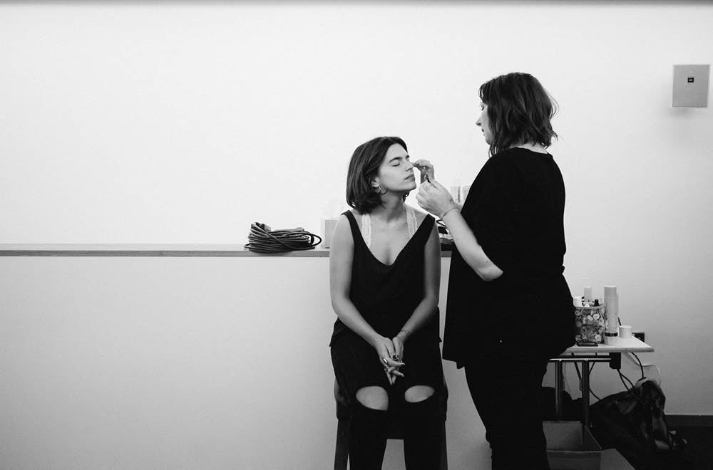 Behind the scenes: Sylvia getting her make up applied