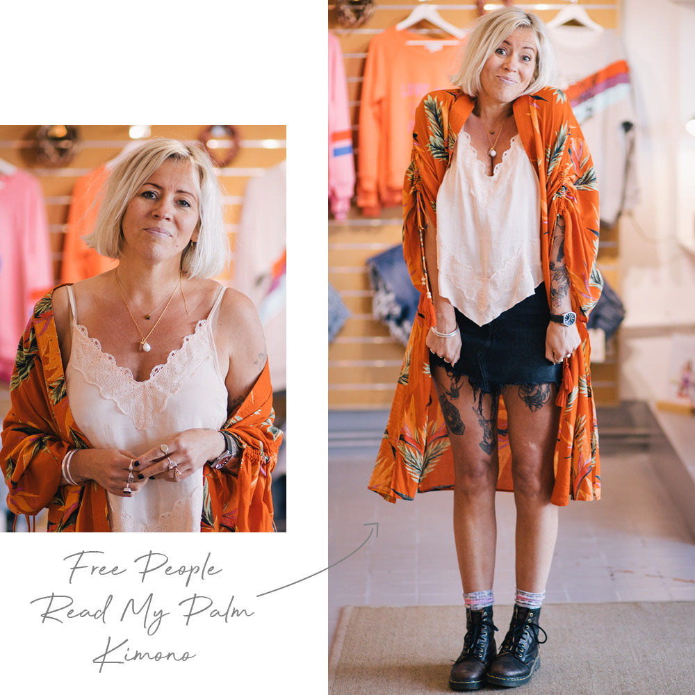 Bex wears the Free People Cross My Palm Kimono