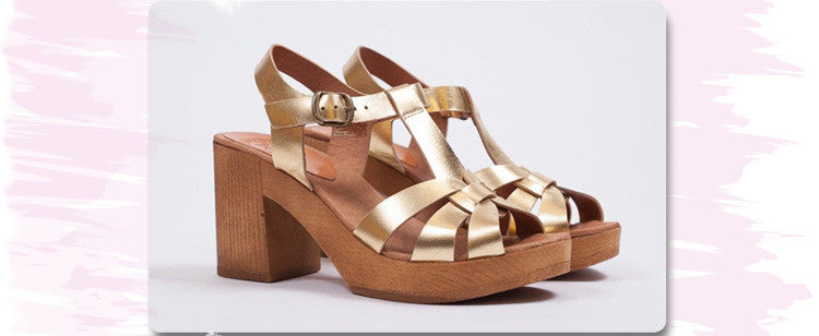 Penelope Chilvers Gold Jude Sandals crafted from soft metallic leather with a wood block heel