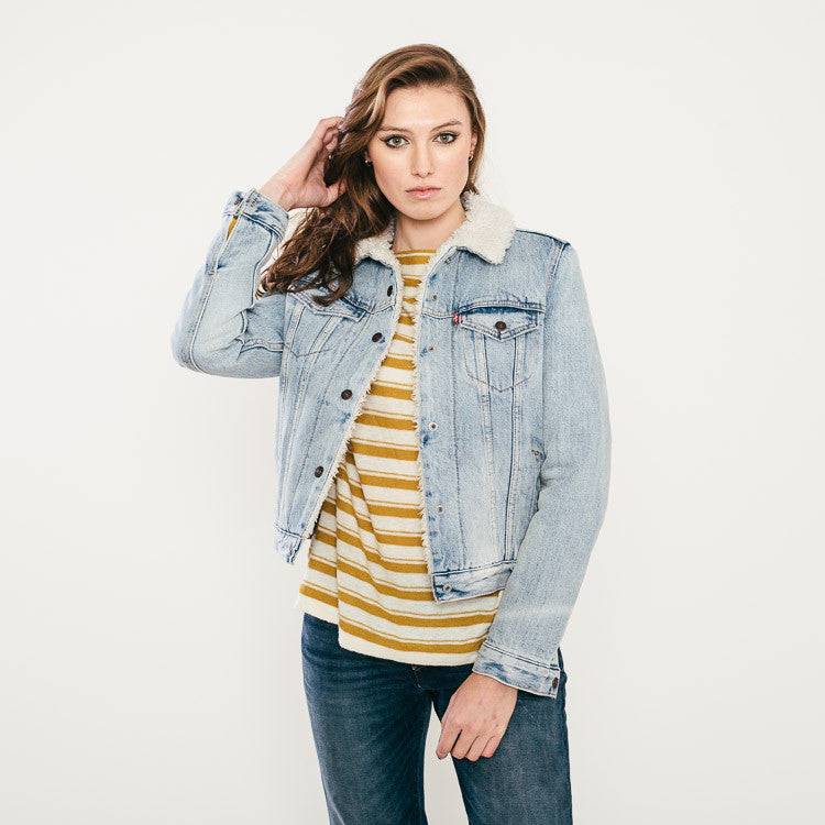 Levi's Vintage Sherpa Denim Trucker Jacket available from Roo's Beach UK