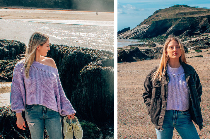 Lauren of NY to Anywhere wearing the Free People Pandora's Boatneck Lilac Jumper