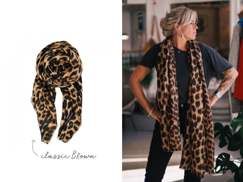 Black Colour Flavia Leopard Print Brown Scarf