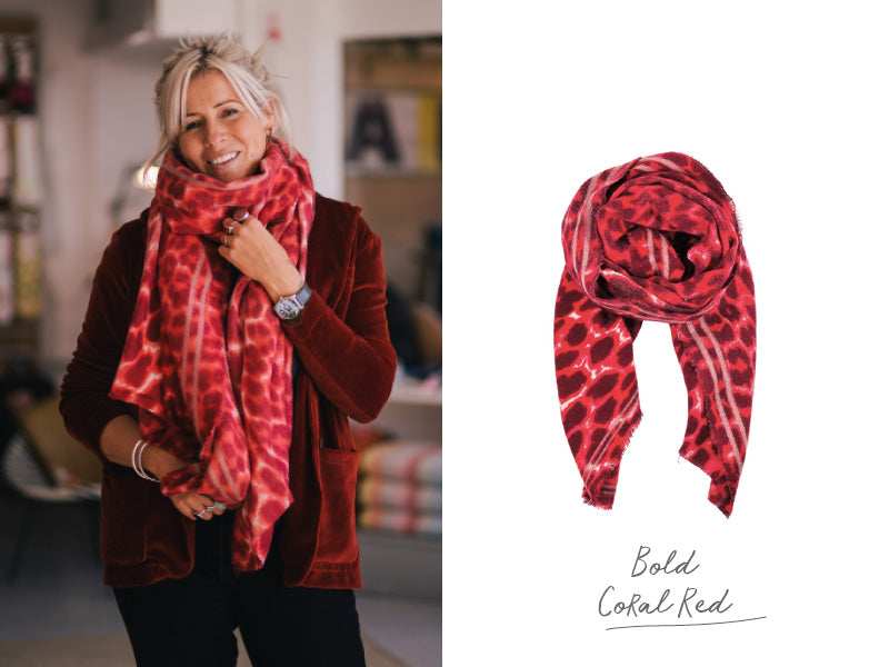 Bex wearing the Black Colour Flavia Leopard Print Red Scarf
