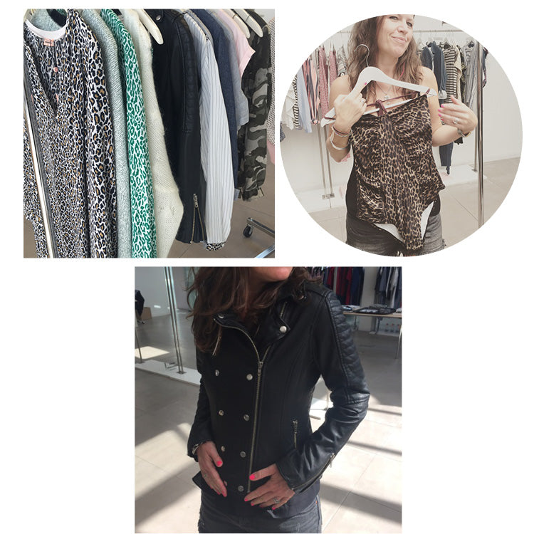 Roo showing her love of leopard print and a black leather biker jacket
