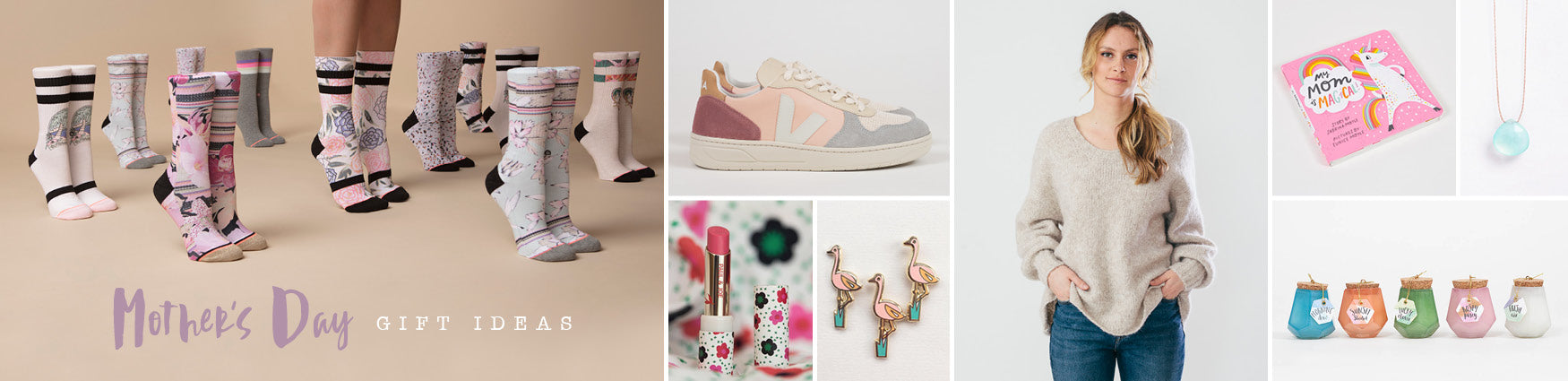 Shop our colourful edit of Mother's Day gifts featuring Stance Socks, Veja Trainers and American Vintage knitwear