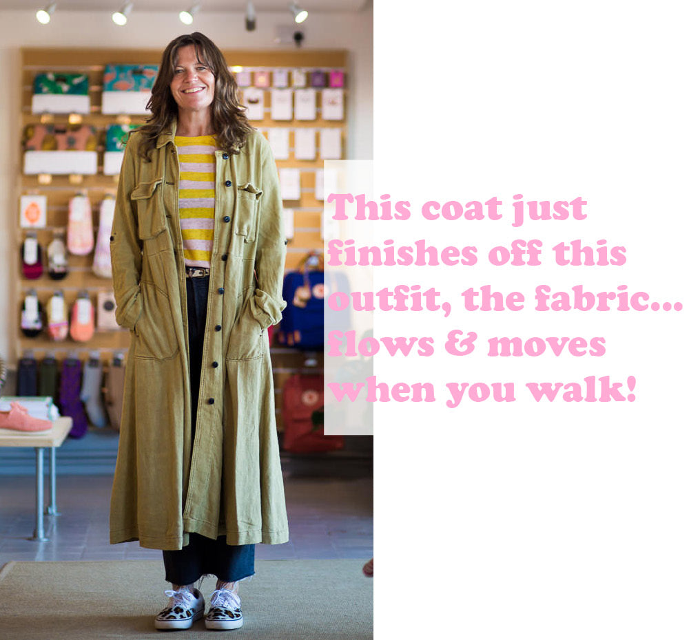 Roo wearing the Free People Rainz Duster Moss Jacket