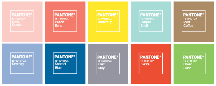 Pantone Colours of the year 2016