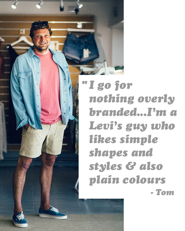 Tom wearing the Levi's Made & Crafted Men's Washed Western Denim Shirt style with shorts