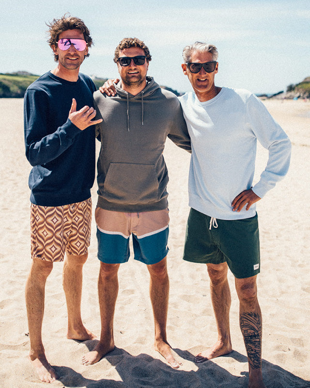 Pete, Tom and Mike wearing Colourful Standard Sweatshirts