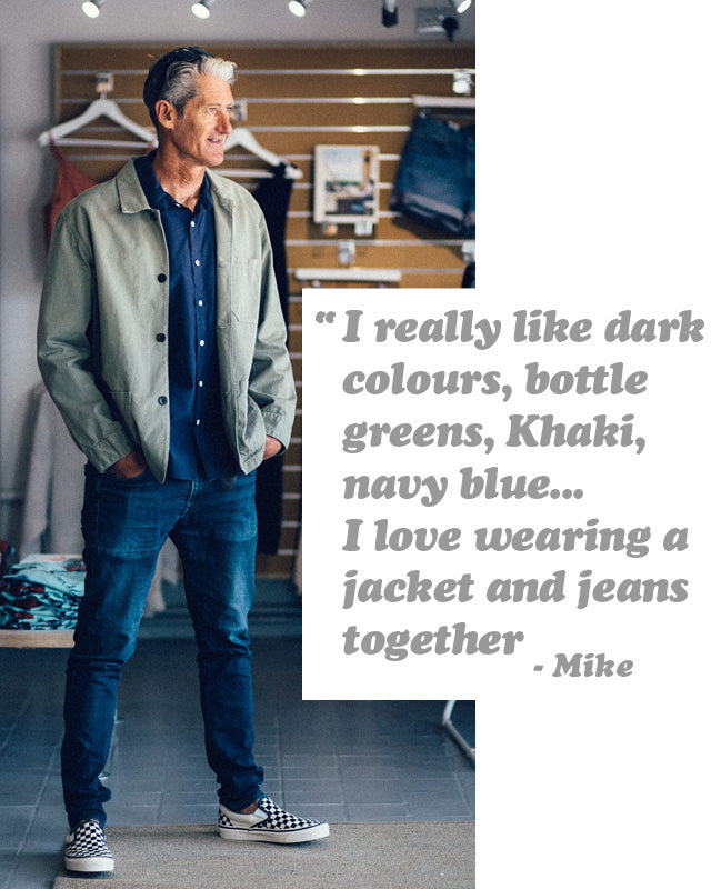 Mike wearing the Portuguese Flannel Labura Olive Jacket styled with jeans