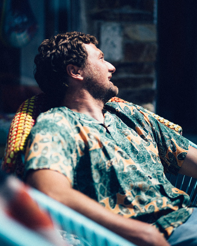 Lifestyle shot of Tom wearing the Portuguese Flannel Harlam Mens Shirt