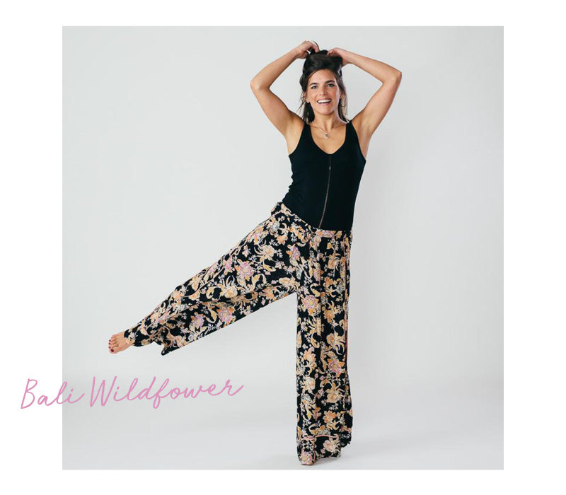 Free People Bali Wildflower Black Trouser Pant