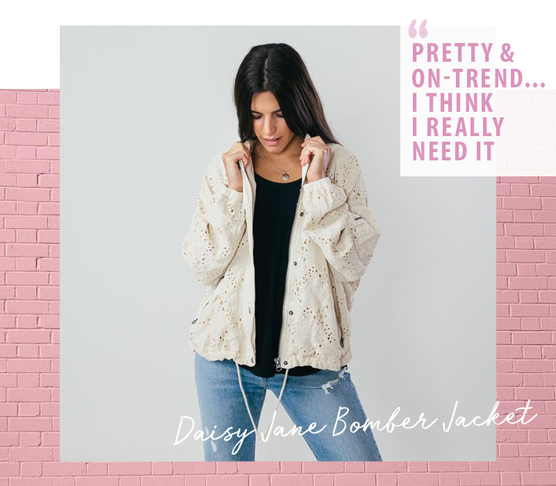 Free People Daisy Jane Ivory Bomber Jacket