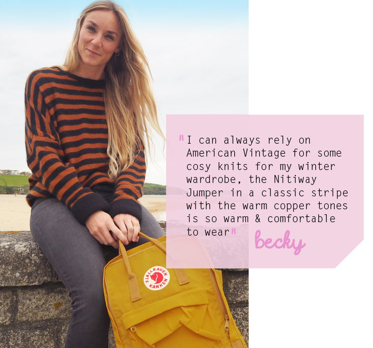 Becky's wearing the American Vintage AW17 Nitiway Knit available from Roo's Beach UK
