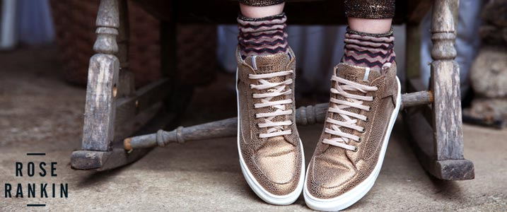 Roo's Beach stockists of Rose Rankin Bronze Simmy Mid-Top Sneakers