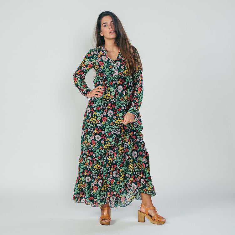 Model wearing the Ottod'Ame Bell Bottom Floral Dress