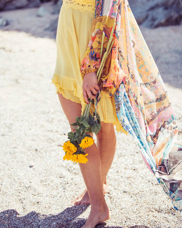 Detail shot of the Free People Keeping Up With Kimono styled with the Adella Dress