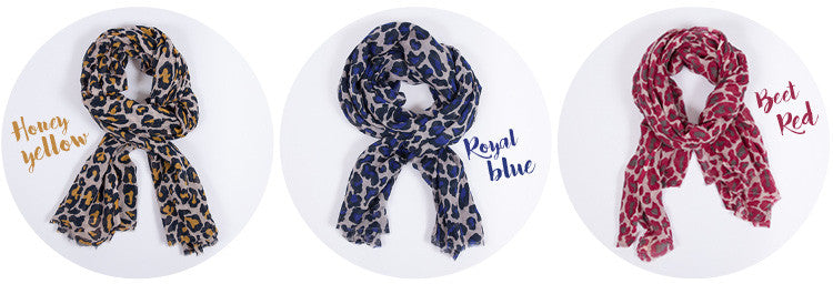 Leopard print scarfs available from Roo's Beach UK
